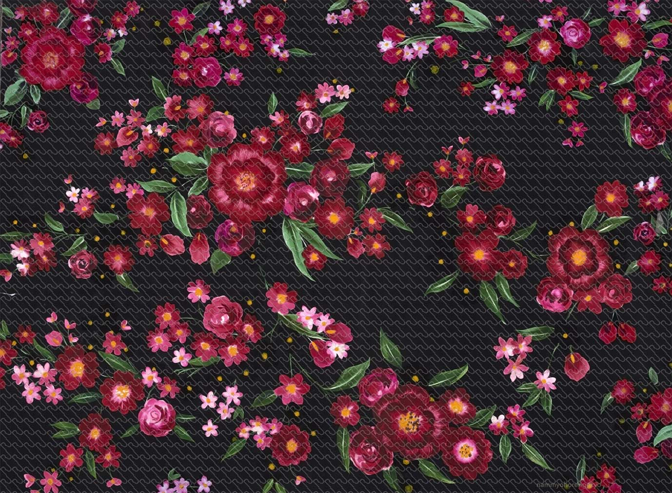 Brushed Red Flowers And Roses With Black Background 1519 Ru Digital